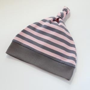 Roosade ja hallide triipudega sõlmemüts 12-18k