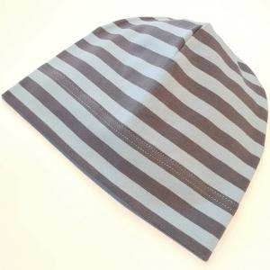 Siniste ja hallide triipudega beanie 38-42 cm