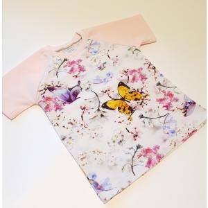 Valgel liblikad ja lilled särk