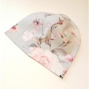 Roosad roosid hallil beanie müts