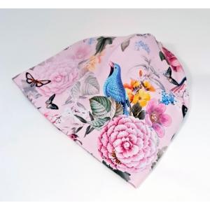 Linnud ja lilled roosal beanie müts